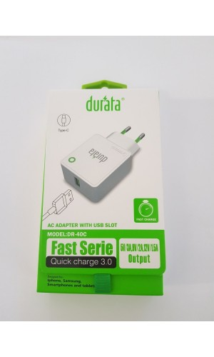 durata Quick Charge Adapter mit Typ-C Kabel