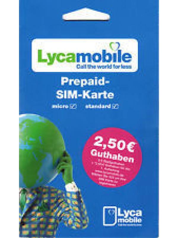 Lycamobile Simkarte 0,00 € + 2,50 Bonusguthaben